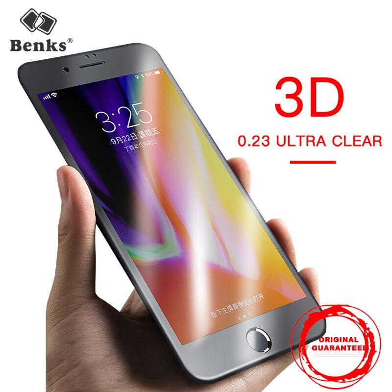 0.23mm Ultra Mince Protecteur D'écran Pour iPhone 7 8 Plus Trempé verre Benks 3D Bord Incurvé Pleine Couverture En Verre Sous Vide Film De Revêtement