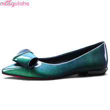 8eee9bdfeca Masgulahe black green fashion spring autumn ladies single shoes pointed  toeshallow casual women low heels shoes