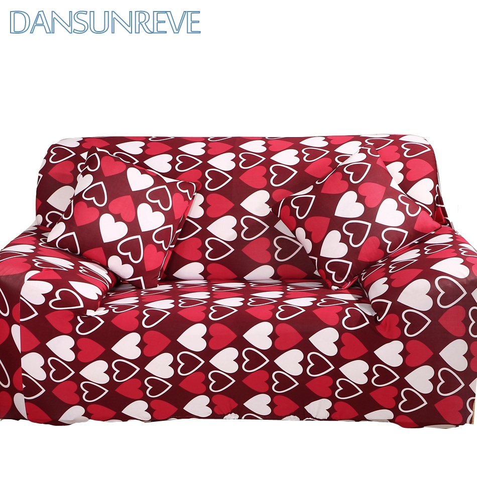 Universal Stretch Sofa Covers With Red Heart Pattern