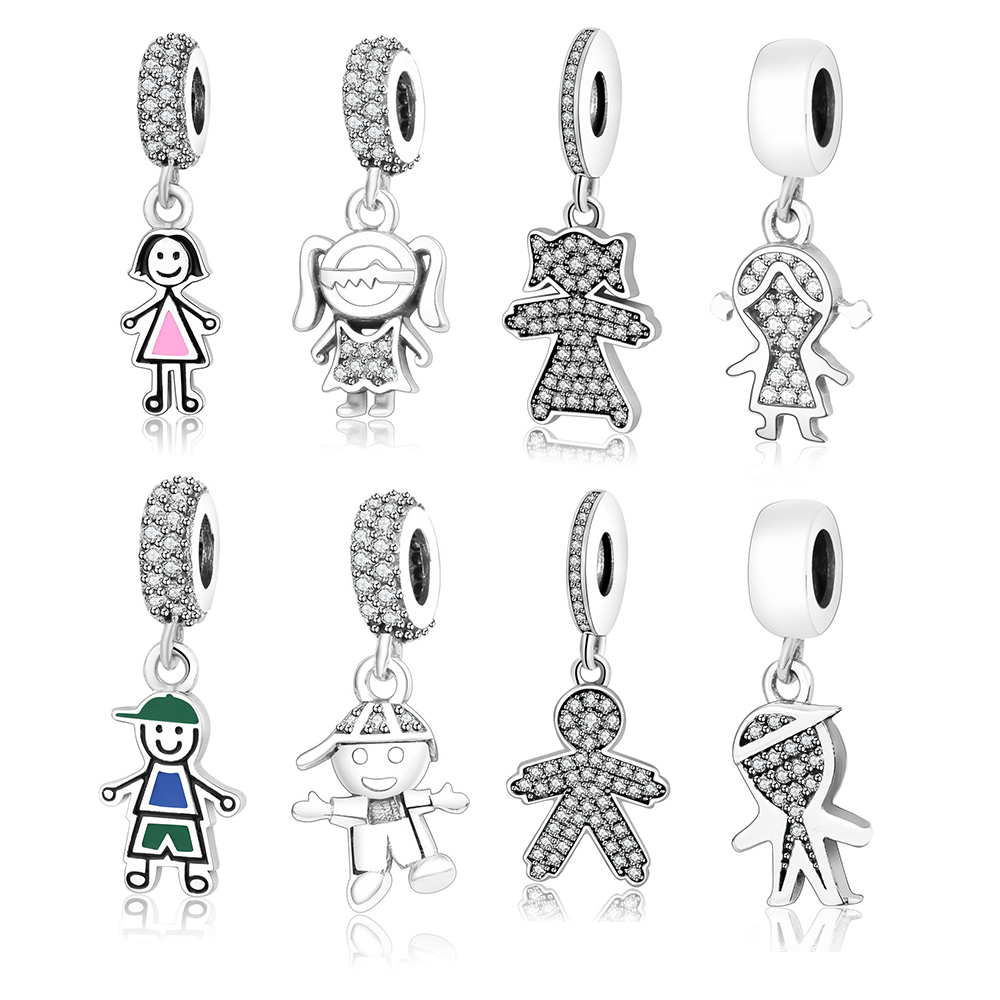 Fits Original Pandora Charms Bracelet 925 Sterling Silver Cute Boy Girl Family Dangle Charms Beads DIY Jewelry Accessory Making happy charms family noae0134
