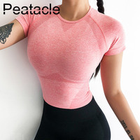 Peatacle Short Sleeve Sport Top High Stretchy Workout Crop Top Scoop Neck Women Fitness Top Pink Seamless Energy Gym Yoga Shirts