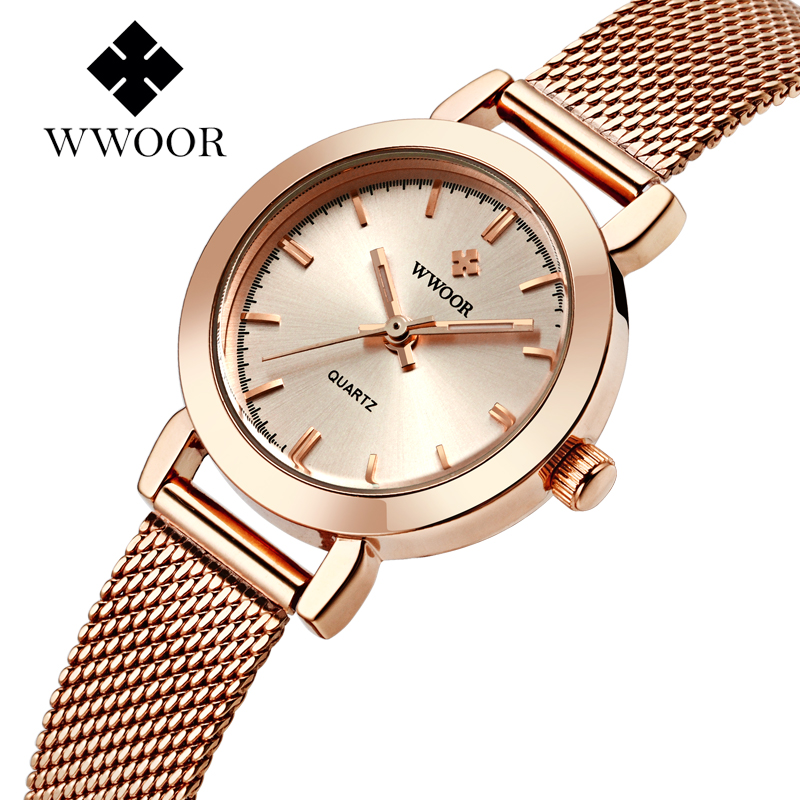 Top Luxury Brand WWOOR Casual Ladies Women Dress Watches Thin Quartz Watch Mesh Band Gold Bracelet