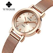 Top Luxury Brand WWOOR Casual Señoras de Las Mujeres se Visten Los Relojes Reloj de Cuarzo Fina Banda de Malla de Oro Pulsera de reloj de Pulsera Relogio Feminino