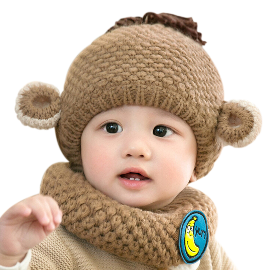 2pcs/set winter children baby cap+scarf hat cute little monkey