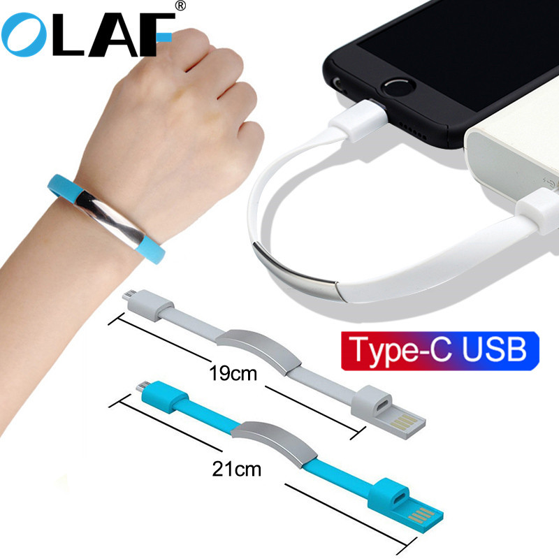 OLAF Type C Bracelet cable Mobile Phone cables usb Charging Data Cord For Samsung s8 s9 s10 Huwei P30 C Type-C short usb cable