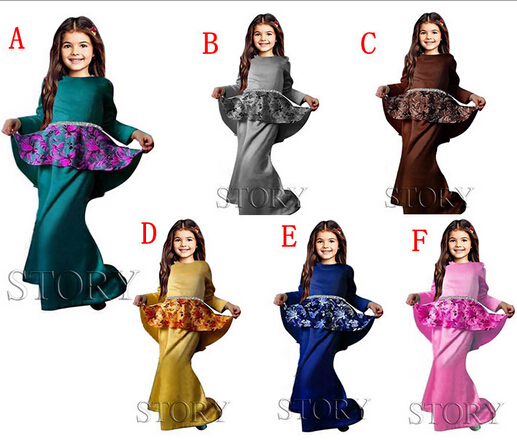 girl abaya dress abaya silky jilbab kid fashion fancy style 6pcs/lot free ship