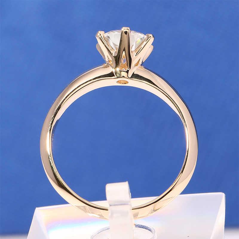 Big 95% OFF!! แท้ 18KRGP แสตมป์สีเหลืองทองแหวน 8 มม.2 กะรัต Diamant CZ Zircon แหวนหมั้นสำหรับสุภาพสตรี r169