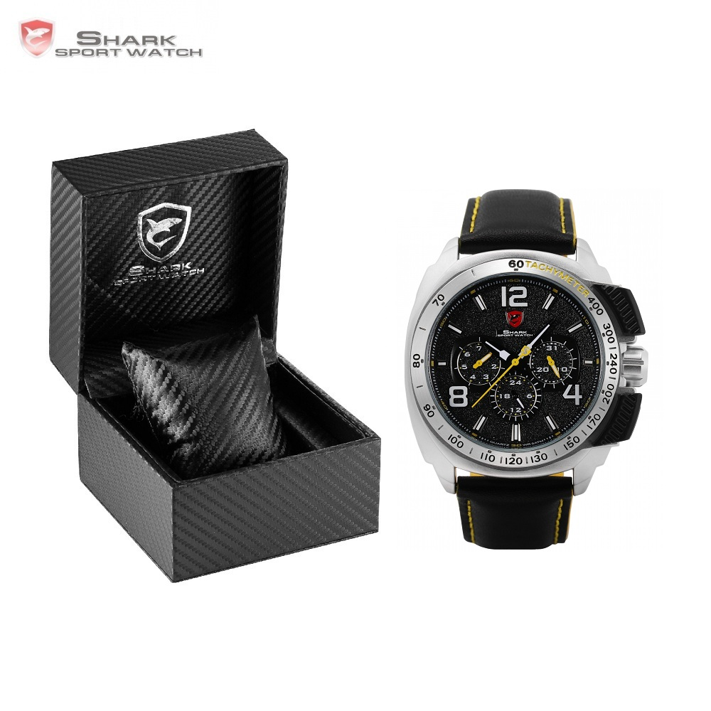 Luxury Leather Box Tiger Shark Sport Watch Date 24Hr Function Clock Fashion Quartz Movement Waterproof Men Wristwatch /SH415-419