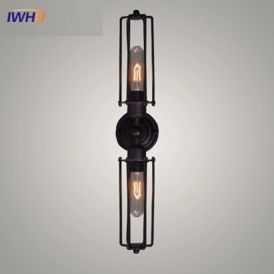 IWHD American Loft Style Industrial Vintage Wall Lamp For Bedroom Retro Lighting Black Iron Wall Lamp Edison Bulb Light Fixtures american country style industrial wall lamp retro bar bedroom pulley light fixtures stairs wall lamp