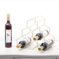 Honeycomb Style Wine Holder Metal Table Storage Basket Golden Desk Storage Basket Red Wine Rack Organizer Display Stand Decor
