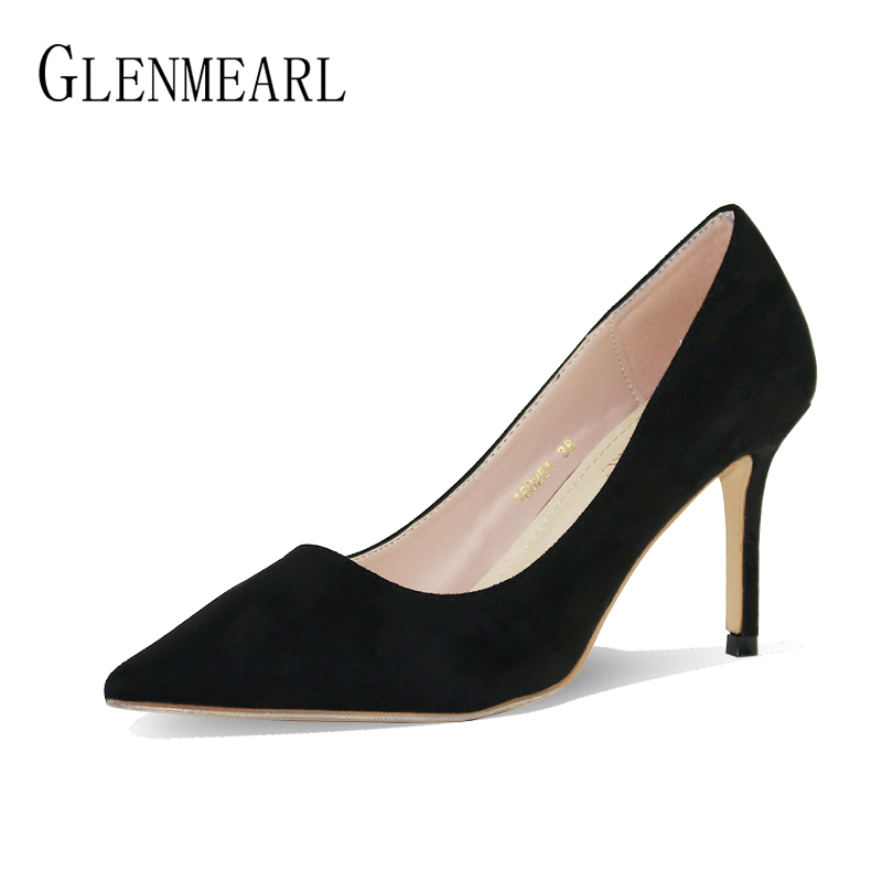 High Heels Shoes Women Pumps Spring Brand Thin Heels Pointed Toe Dress Shoes Woman Flock Black Office Lady Work Pumps Single CE brand women pumps flock high heels women