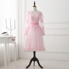 2018 Blush Short Pink Prom Dress Long Sleeve Lace Appliqued Tulle Woman Bridal Party Dresses Light Pink Spring Dress New Arrival