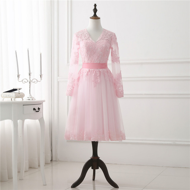 d35cef8029949 2018 Blush Short Pink Prom Dress Long Sleeve Lace Appliqued Tulle Woman  Bridal Party Dresses Light Pink Spring Dress New Arrival
