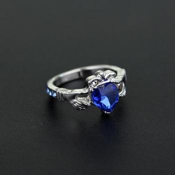 Hogwarts Ravenclaw House crown Ring Blue crystal Claddagh