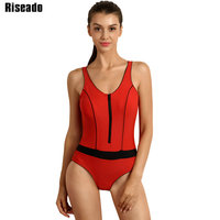 Riseado New 2017 One Piece Swimsuits Swimwear Women Swim Sports Suit Backless Sexy Zipper Swimwear Bathing