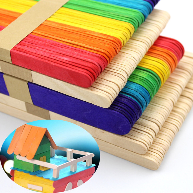 50pcs Wooden Popsicle Stick Kids Hand Crafts Art Ice Cream Lolly Cake DIY Making Funny Gift Baby Shower Birthday Decor Supplies