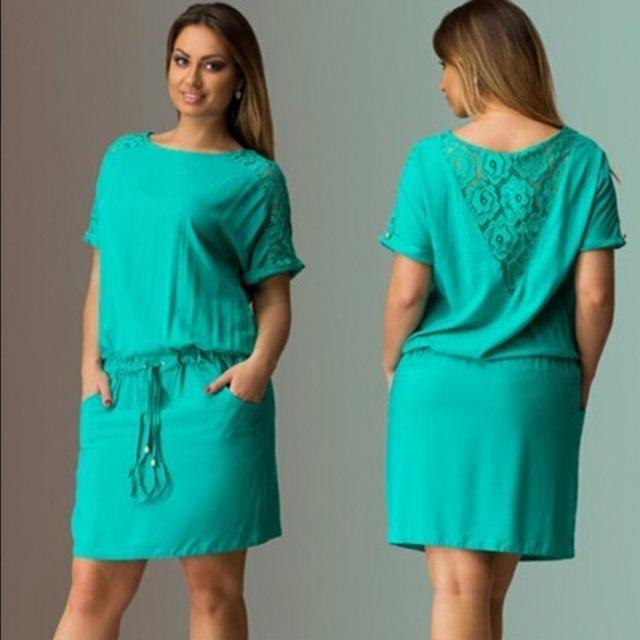 Plus Size Women Ladies Casual Dress Short Sleeve Lace Floral Back Short Dress