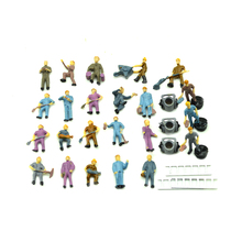 25pcs HO scale model color railway worker toys miniature architecture train repairmen group for diorama railway layout kits