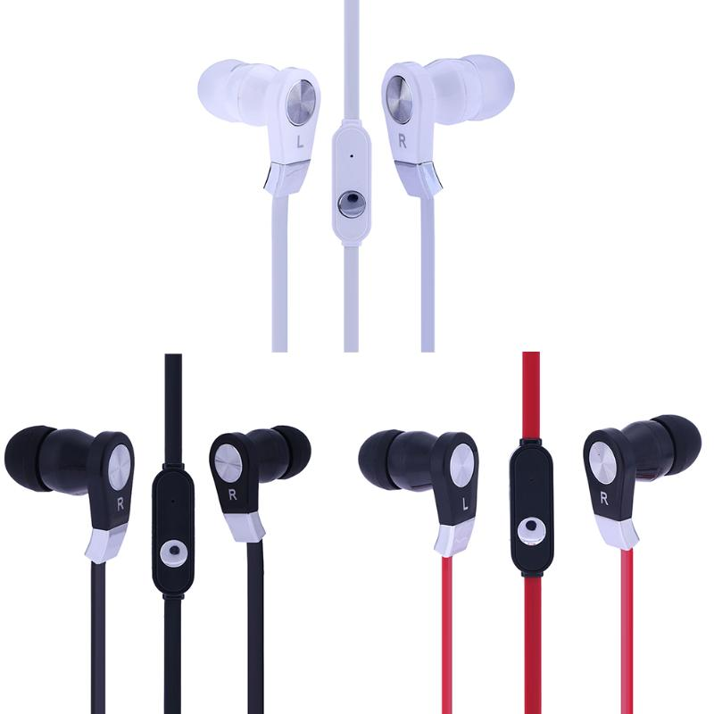 3.5mm Wired Phone Earpiece Stereo In Ear Earbuds Earphone Auriculares Headset Flat Cable Super Bass with Microphone