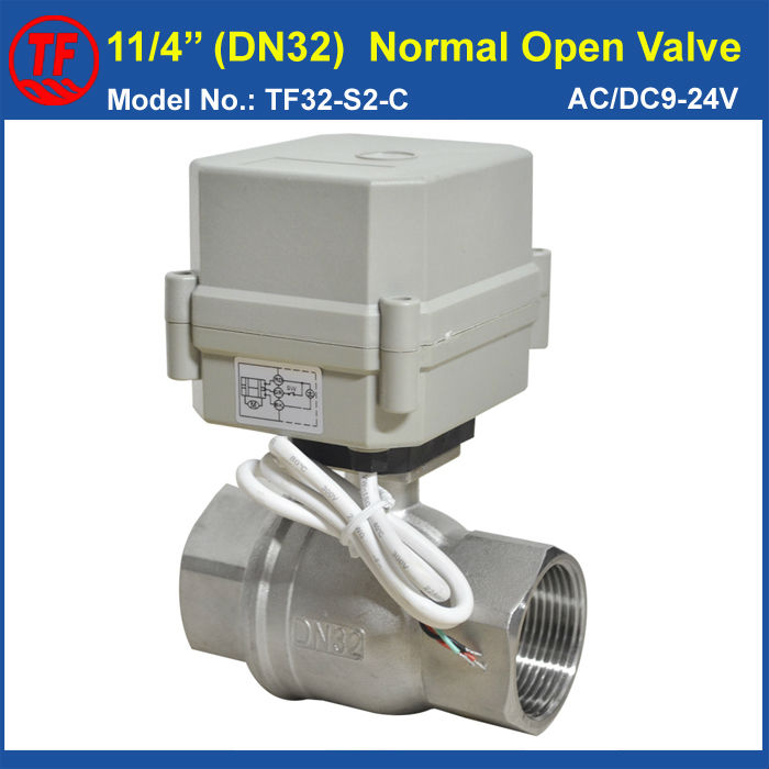 TF32-S2-C BSP/NPT DN32 (1-1/4'') Stainless Steel AC/DC9-24V 2 Wires Normal Open Valve 2-Way Full Port IP67/CE Torque 10Nm tf15 s2 b dn15 stainless steel normal close open valve 2 5 wires bsp npt 1 2 ac dc9v 24v electric water valve
