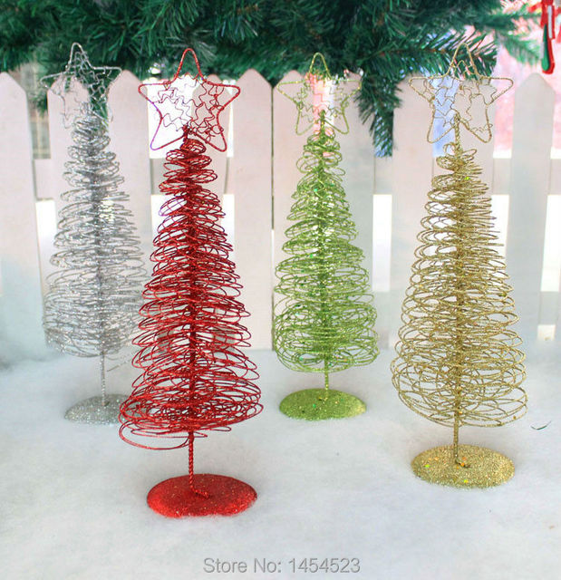 christmas table decorations iron wire christmas tree 32cm golden silver red green wire tree cristmas home