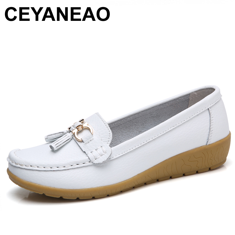 CEYANEAO Boat shoes women fashion sneakers genuine leather shoes tassel fringe casual shoes round toe ladies flat C030 все цены