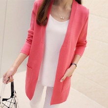OLGITUM New Women Spring/ Autumn  Sweater 2017 Long Cardigan Korean Slim Pocket Loose Knit Sweater Outwear Coat  SW522