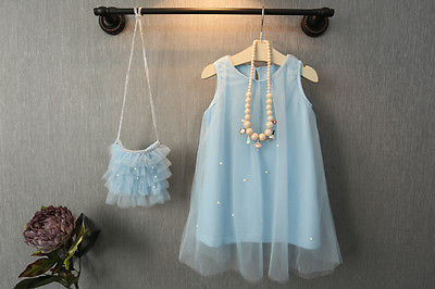 Pageant Fairy Baby Girl Princess Party Dress Pearl Tulle Gown Dress - Barnkläder - Foto 2