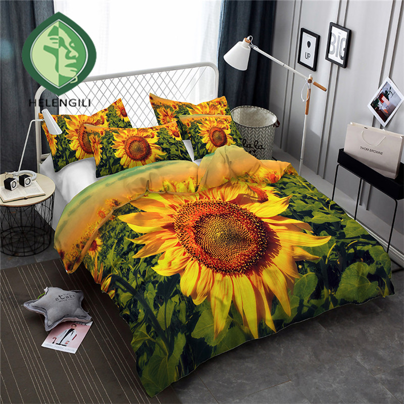 HELENGILI 3D Bedding Set Sunflower Print Duvet Cover Set Bedclothes With Pillowcase Bed Set Home Textiles #XH-16