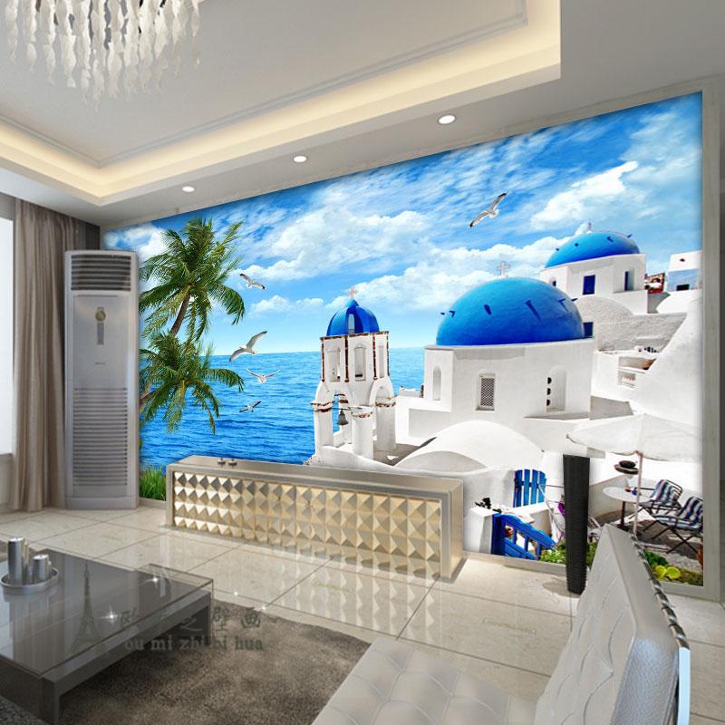 beibehang Modern minimalist fresh Aegean Sea wallpaper