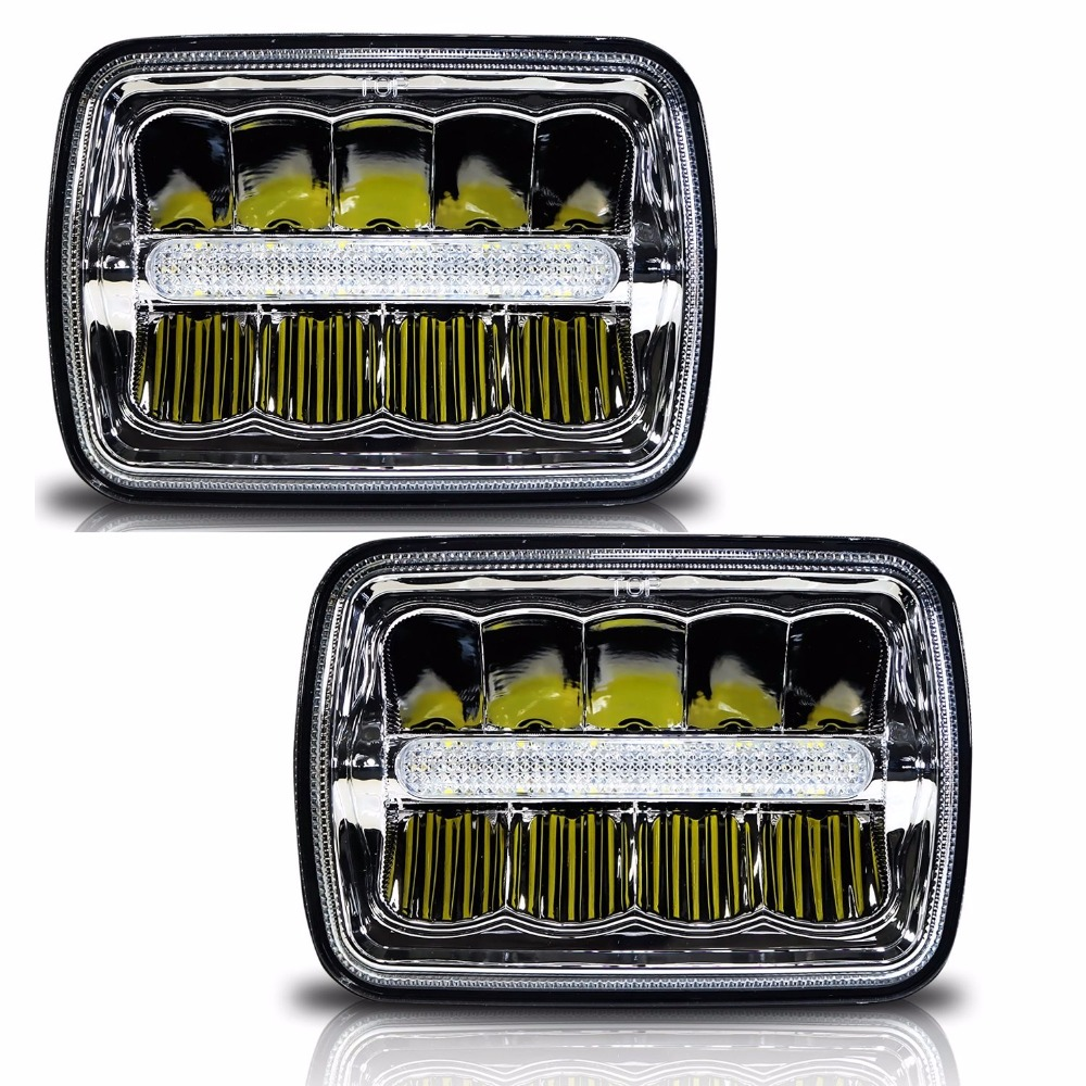 Square LED Headlight 7x6 5x7 High Low Beam Chrome Reflector Sealed Beam Replacement With DRL for Jeep Cherokee XJ Trucks 5x7