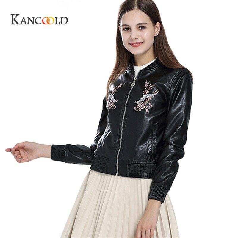 KANCOOLD 2017 fas Streetwear Lokomotive Jacke Fruhling Herbst Fashion Floral Stickerei Kurze Mantel Langarm Frauen Tops PU oct13