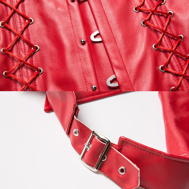 Solid Sexy Waist Trainer PU Corset Women Cincher Vintage Body Shaper Lace Up Women Cincher Slimming Bodysuit Red 5XL 6XL