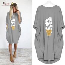 Female Summer Fashion Bud Full Sleeve Dress Plus Size Loose Womens O-Neck Casual Style Knee-Length Retro Vestidos