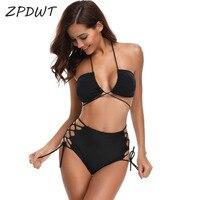 ZPDWT Black Swimsuit Lace Up Bikini Set Criss Cross Swimwear Women High Waist Swim Bathing Suit