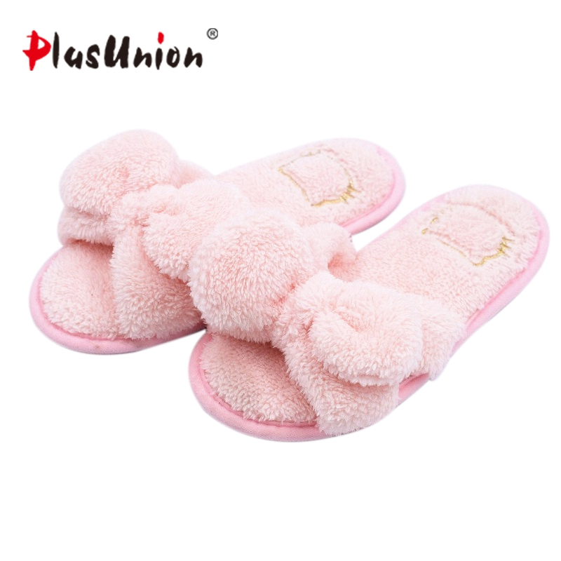 cute butterfly knot indoor winter furry soft slippers women red blue faux plush autumn house home with fur shoes pantoufles flat fur women slippers 2017 fashion leisure open toe women indoor slippers fur high quality soft plush lady furry slippers