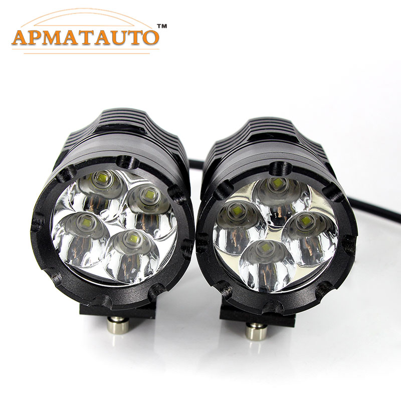 2X 60W Wite 6000K 9600LM With CREE Chips LED Motorcycle Headlight Fog Spot HeadLamp Spotlight Waterproof Motorbike Bulb Moto