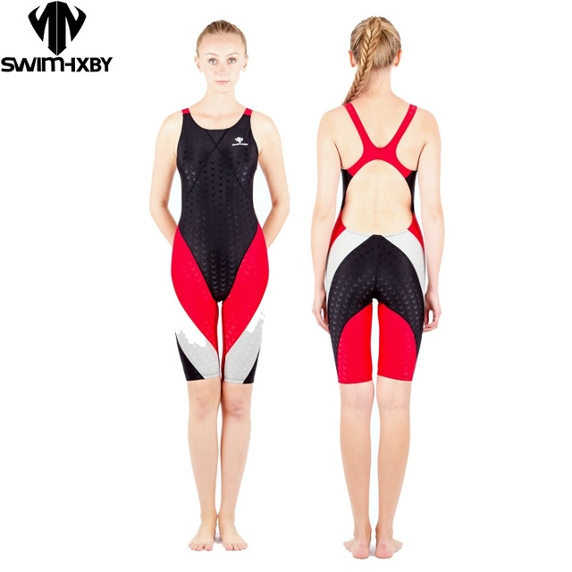 9ee975266e HXBY swimwear swimming women competitive swimsuit girls swimsuits sharkskin  racing competition swim suits knee female