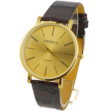 Popular Golden Gentle Men's Leather Band Quartz Wrist Luxury Watches Classic Watch  NO181 5V8C C2K5W