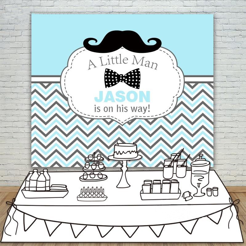 DIY custom Baby Shower White Blue Striped Twill Moustache Little Man Party Vinyl cloth Computer printed birthday Backgrounds custom vinyl cloth print blue textured