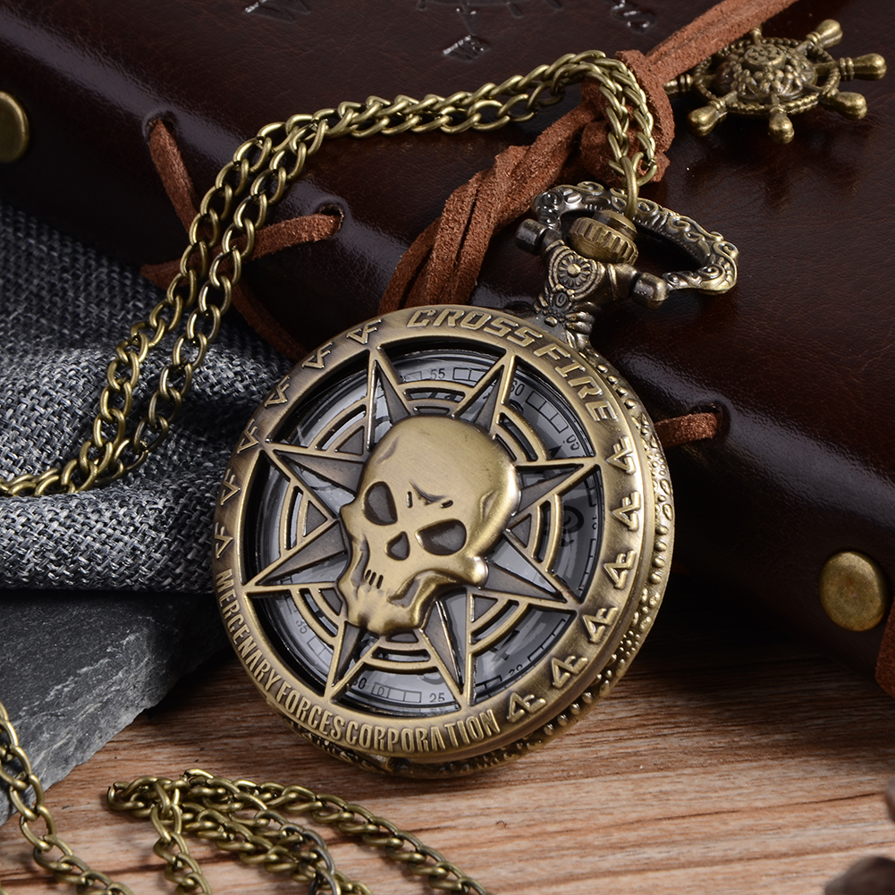 цена на Vintage Bronze Steampunk Quartz Pocket Watch Hollow Carribean Pirate Skull Head Horror with Chain for Men Women Pendant necklace
