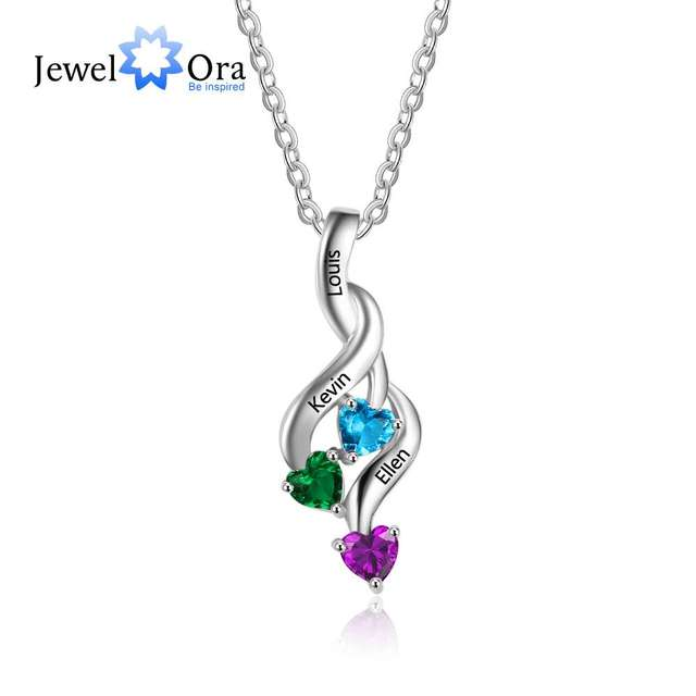 3 Heart Personalized 12 Birthstone Engrave Name Pendant Necklace 925 Sterling Silver Jewelry Gift For Family (JewelOra NE101991)