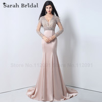 Long Sleeves Evening Dresses Mermaid V Neck 2015 2 Colors Beading Appliques Women Prom Gowns Nude