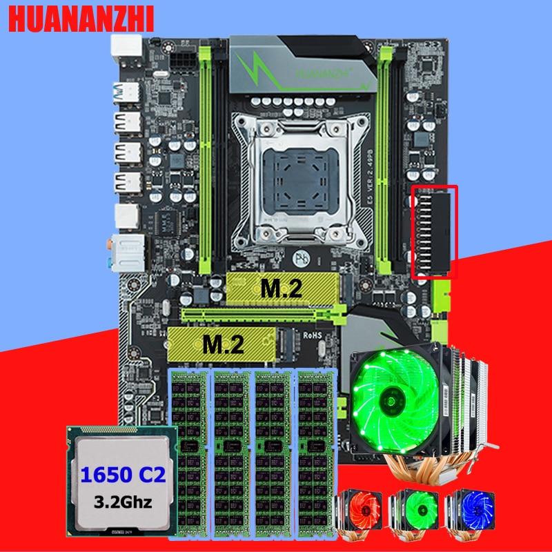 HUANANZHI X79 Pro desktop moederbord met DUAL M.2 NVMe SSD slot CPU Intel Xeon E5 1650 C2 3.2 GHz 6 buizen cooler RAM 16G (4*4G)