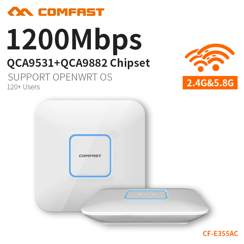 COMFAST CF-E355AC 1200M Dual Band wireless indoor AP 2.4G+5.8GHz Wi fi Access Point AC routers extender Signal Booster Amplifier comfast 300mbps wireless outdoor cpe atheros ar9531 chipset wi fi access point wifi repeater signal amplifier network bridge