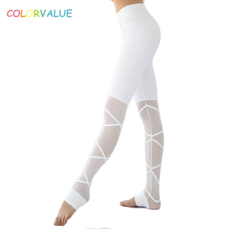 Colorvalue Sexy Cross Mesh Dancer Yoga Pants Women Stretchy High Waist Running Sport Tights Triangle Crotch Athletic Leggings