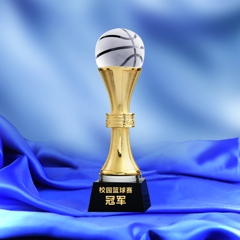 Metal Trophy With a Crystal Basketball NBA Trophy Champion Award Cup Basketball Games Awards Sports Souvenirs green and amber color glass trophy sports events awards sport games awards champions league trophy