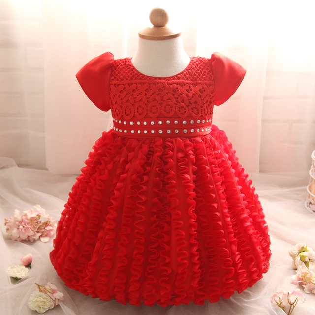 Toddler Girl Clothes Lace Christening Gown Infant Kids Party Wear Girls Dresses Tutu 1 Year Baby Birthday