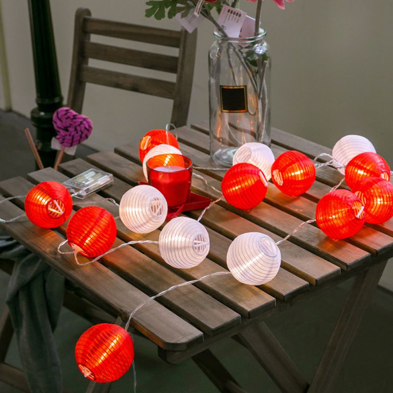 4m/20 Lights New Year Waterproof Outdoor Fairy Holiday Lighting Factories And Mines Lantern Led Decorative Lantern Lighting String 2m/10 Lights