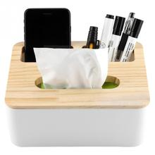 Removable Bamboo Wood Cover Plastic Storage Organizer Tissue Holder Box
